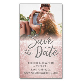 Mini Save the Date Magnets Cheap | Rose Gold Gray