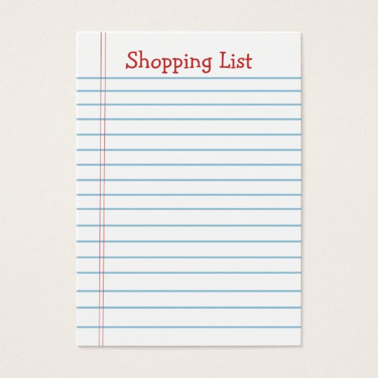 Mini Shopping List Note Paper Business Cards