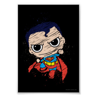 Mini Superman Sketch - Flying Poster