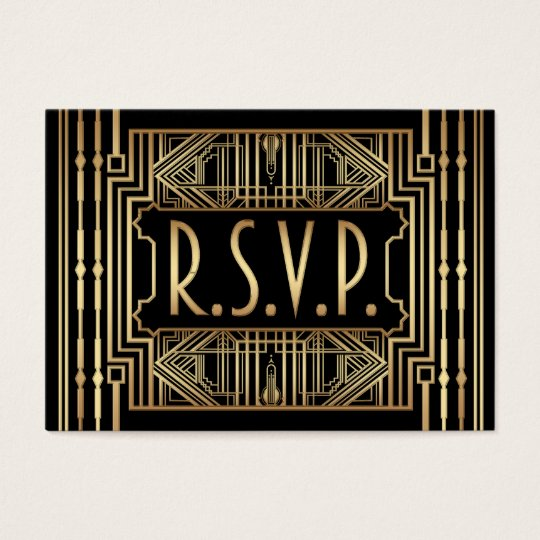 Mini Wedding RSVP Cards Vintage Gatsby Style