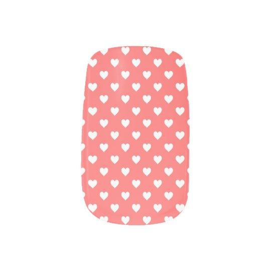 Mini White Hearts on Coral Nail Stickers