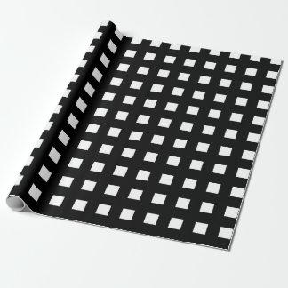 Mini White Squares Black Wrapping Paper