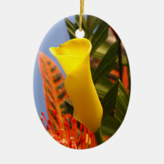 mini yellow calla lily christmas ornament
