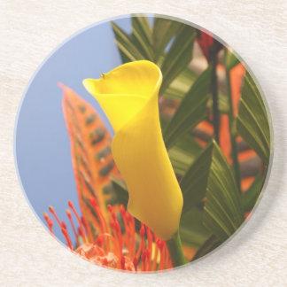 mini yellow calla lily coaster