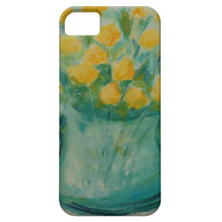 Mini Yellow Roses in Blue Glass Vase iPhone 5 Cover