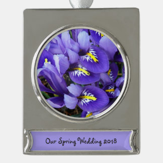 Miniature Blue Irises Spring Floral Silver Plated Banner Ornament