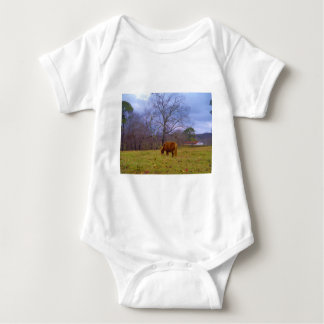 Miniature brown horse blustery sky tshirts