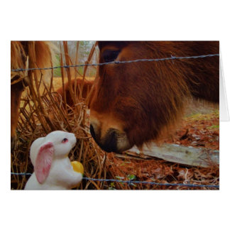 Miniature Brown horse & Easter Bunny Greeting Card