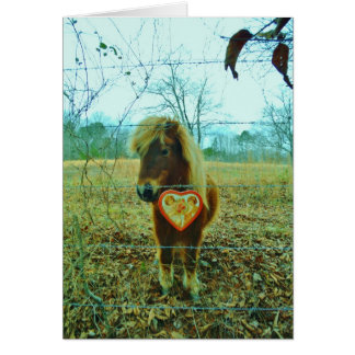 Miniature Brown horse Valentine Heart Greeting Cards