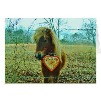 Miniature Brown horse Valentine Heart Card