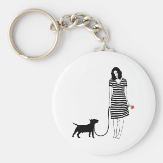 Miniature Bull Terrier Basic Round Button Key Ring