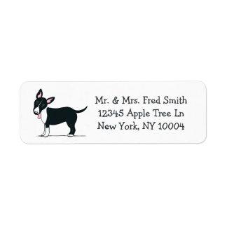 Miniature Bull Terrier Black/White Off-Leash Art™ Return Address Label