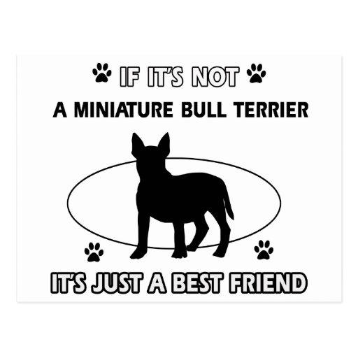 MINIATURE BULL TERRIER dog designs Post Card