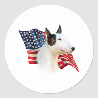 Miniature Bull Terrier Flag Classic Round Sticker