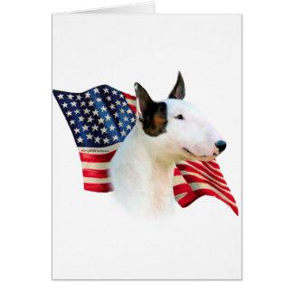 Miniature Bull Terrier Flag Greeting Card