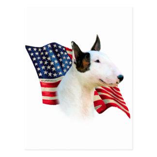 Miniature Bull Terrier Flag Postcard