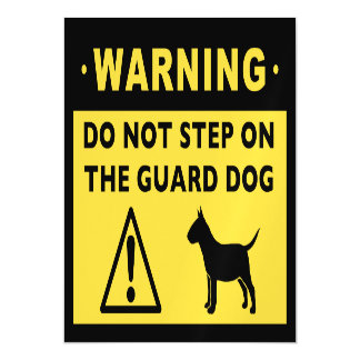 Miniature Bull Terrier Funny Guard Dog Warning Magnetic Invitations
