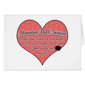 Miniature Bull Terrier Paw Prints Dog Humor Greeting Card