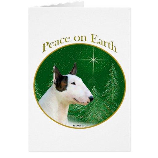 Miniature Bull Terrier Peace Greeting Cards