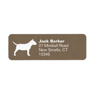 Miniature Bull Terrier Silhouette Return Address Label