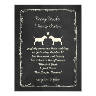 Miniature Bull Terrier Silhouettes Wedding 11 Cm X 14 Cm Invitation Card
