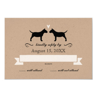 Miniature Bull Terrier Silhouettes Wedding RSVP 9 Cm X 13 Cm Invitation Card