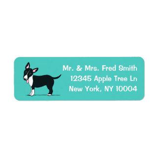 Miniature Bull Terrier Trendy Teal n White Return Address Label