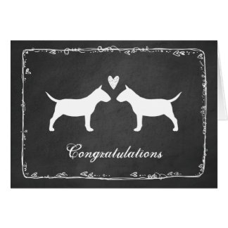Miniature Bull Terriers Wedding Congratulations Greeting Card