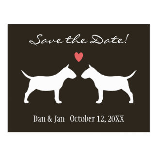 Miniature Bull Terriers Wedding Save the Date Postcard