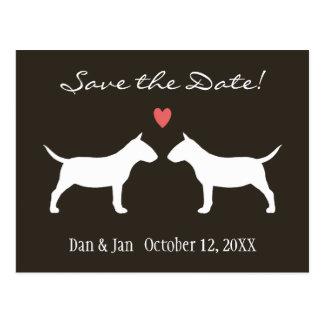 Miniature Bull Terriers Wedding Save the Date Postcard