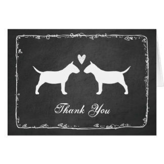 Miniature Bull Terriers Wedding Thank You Note Card