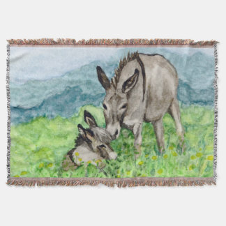 Miniature Donkey Mom and Baby Watercolor Art