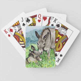 Miniature Donkey Mom and Baby Watercolor Art Playing Cards
