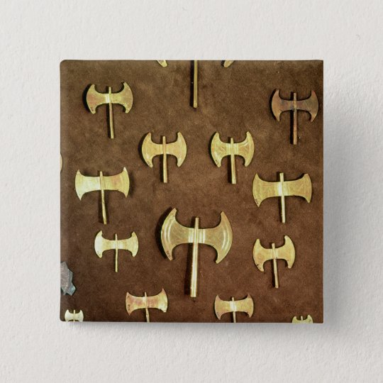 Miniature double axes 15 cm square badge