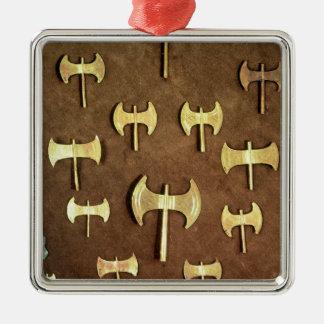 Miniature double axes christmas ornament