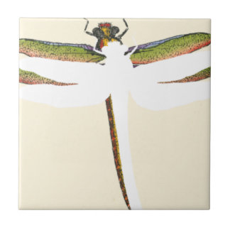 Miniature Dragonfly on White Background Small Square Tile