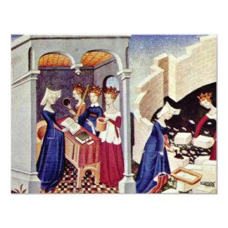 """Miniature From The Cité Des Dames """"Of Christine De 11 Cm X 14 Cm Invitation Card"""