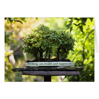 Miniature Green Forest Bonsai Pot Pedestal Leaves Greeting Card