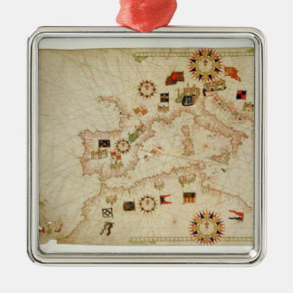 Miniature Nautical Map of the Central Mediterranea Christmas Ornament
