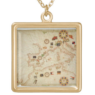 Miniature Nautical Map of the Central Mediterranea Gold Plated Necklace