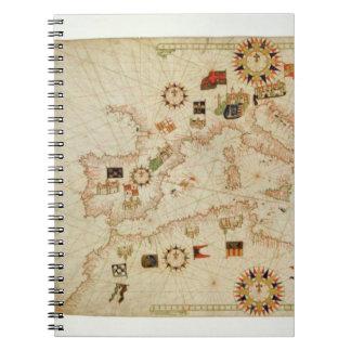 Miniature Nautical Map of the Central Mediterranea Notebook