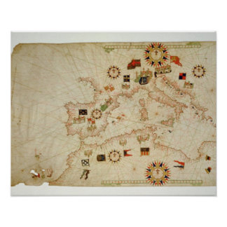 Miniature Nautical Map of the Central Mediterranea Poster