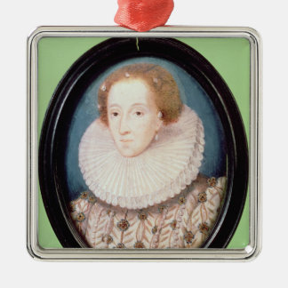 Miniature of Queen Elizabeth I Silver-Colored Square Decoration