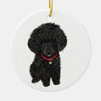 Miniature or Toy Poodle - Black 1 Christmas Ornament