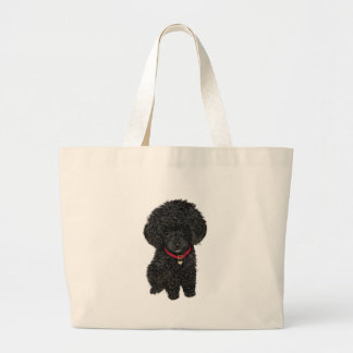 Miniature or Toy Poodle - Black 1 Large Tote Bag