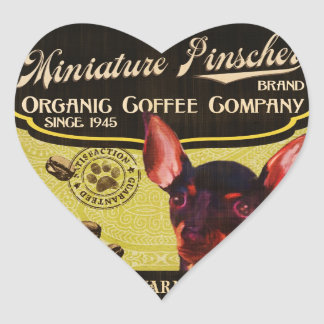 Miniature Pinscher Brand – Organic Coffee Company Heart Sticker
