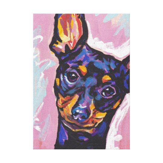 Miniature Pinscher Bright Colourful Pop Dog Art Canvas