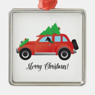 Miniature Pinscher Christmas Car Christmas Ornament