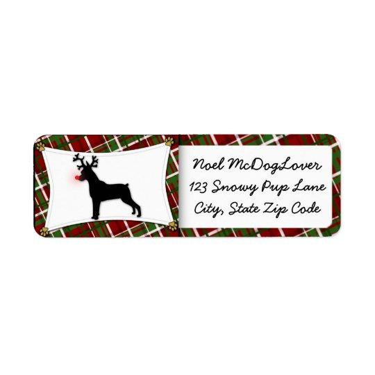 Miniature Pinscher Christmas Return Address Label