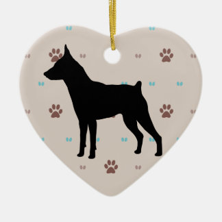 Miniature Pinscher Double-Sided Heart Ceramic Christmas Ornament